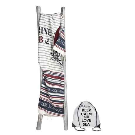 Serviette de plage Fouta Marine Club Grande taille avec sac à dos Beach Keep Calm 100x200 cm