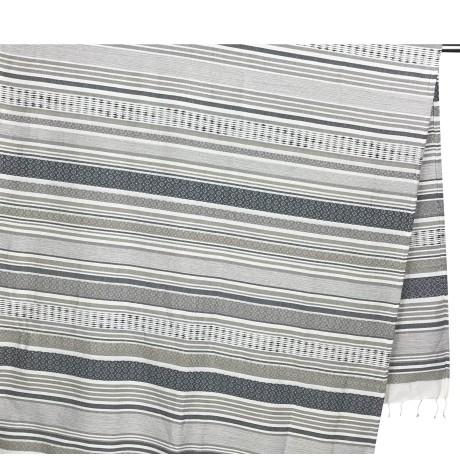 Serviette de plage Fouta Stripe Beige Grande Taille avec Sac à dos Plage Keep Calm 100x200 cm