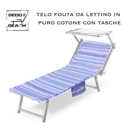 TELO MARE fouta LETTINO JOY in cotone BEDDY BEACH © con tasche MISURA CM. 80 X 200