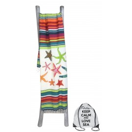 Serviette de plage Fouta Stars Grand format avec sac à dos Beach Keep Calm 100x200 cm