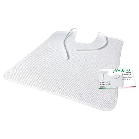 SET BAVAGLIONE ADULTO tinta unita bianco ROMOLO © bavaglio con LACCI completo di sacco per il lavaggio
