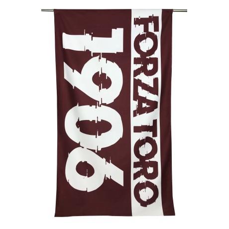 TELO MARE in spugna SCRITTA TORO 1906 misura grande cm. 90 X 170 e cartolina TORINO È STATA e resterà GRANATA