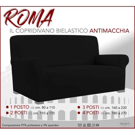Housse de canapé universelle élastiquée et résistante aux taches ROMA Noir