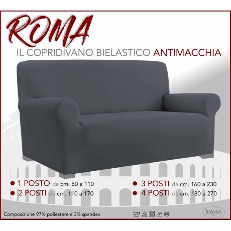 Housse de canapé universelle élastiquée et résistante aux taches ROMA GRIS FONCÉ
