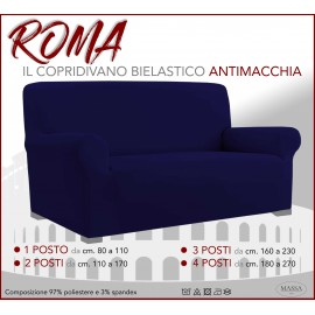 Housse de canapé universelle élastiquée et résistante aux taches ROMA BLEU FONCÉ