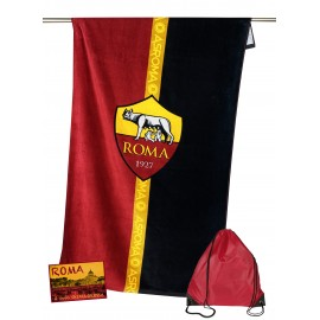 TELO MARE SPORT ROMA MISURA CM.70X140 ORIGINALE A.S. ROMA CON ZAINO TEXFAMILY PORTATELO e cartolina ROMA È