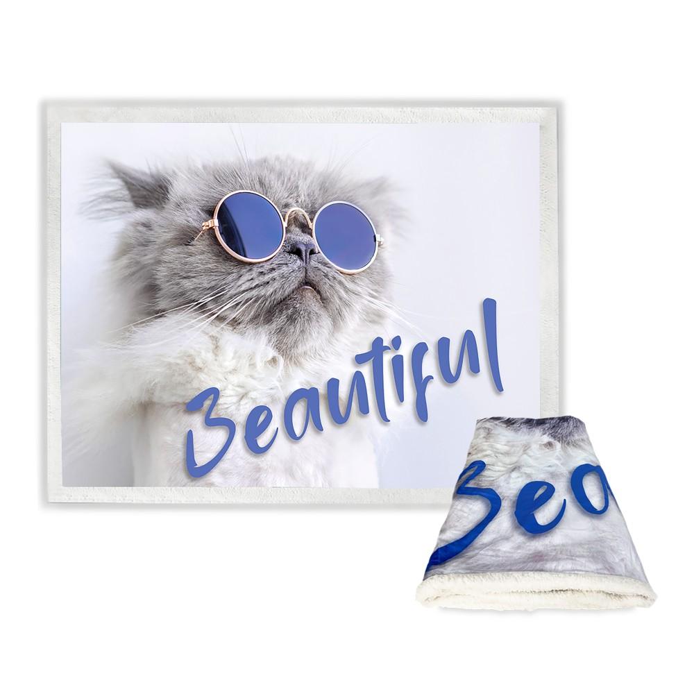 PLAID coperta IN PILE SHERPA fantasy HD gatto BEAUTIFUL