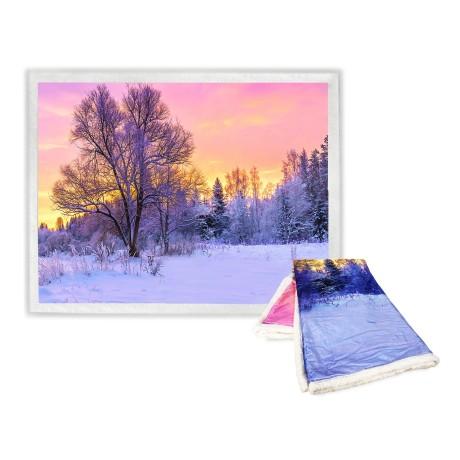 Plaid Couverture polaire Sherpa Fantasy HD Paysage d'hiver