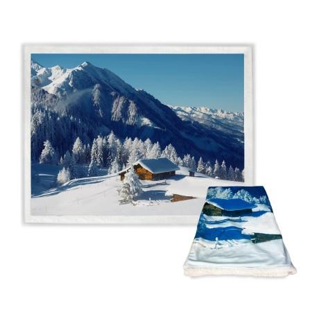 Plaid Couverture polaire Sherpa Fantasy HD Snow Hut