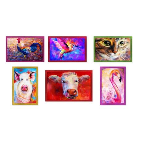 SET 6 PEZZI Strofinaccio ANIMALI DIPINTI in puro cotone stampato in ALTA definizione misura MAXI