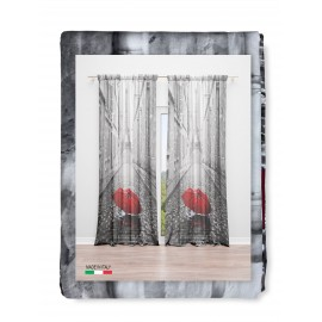RIDEAU PARIS AVEC PARAPLUIE cm.160x240 emballé MADE in ITALY mélange de lin