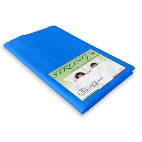 lenzuolo di sopra bluette in puro cotone