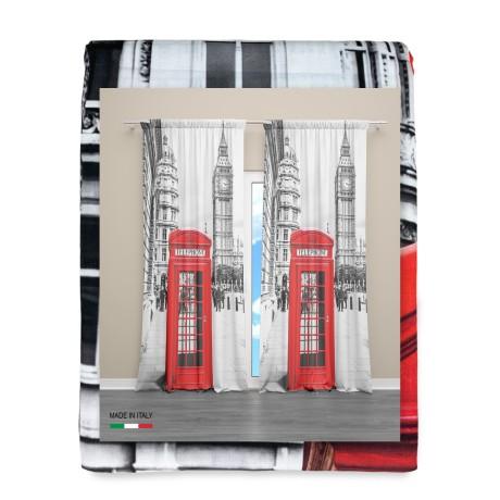 RIDEAU LONDON TÉLÉPHONE anglais 160x300 cm fabriqué en Italie lin mélangé
