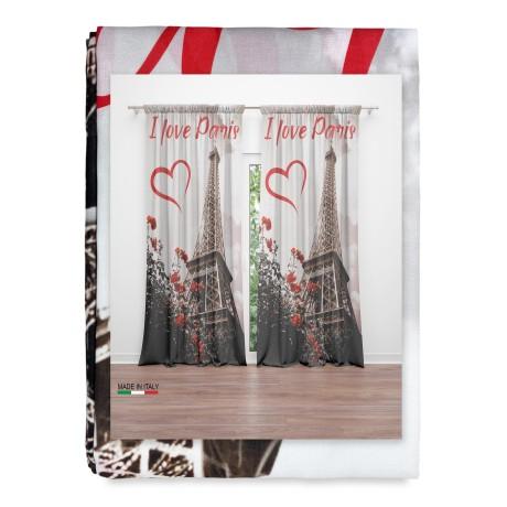 rideau imprimé avec la Tour Eiffel de Paris