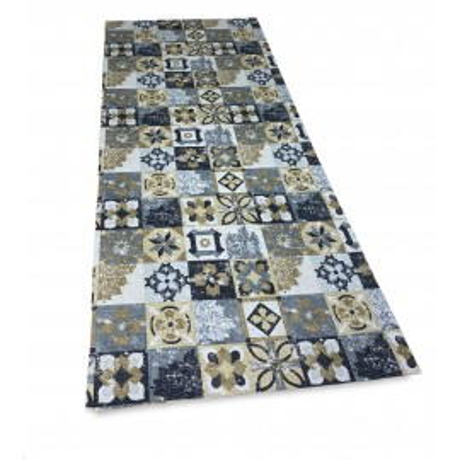 tappeto da cucina con maioliche sul grigio e ocra