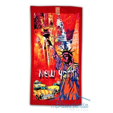 TELO MARE NEW YORK STATUA LIBERTA MISURA GRANDE CM.85x165