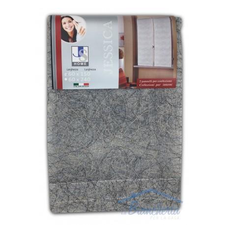 Coppia tendina vetro jessica grigio argento la for Tendine a vetro confezionate