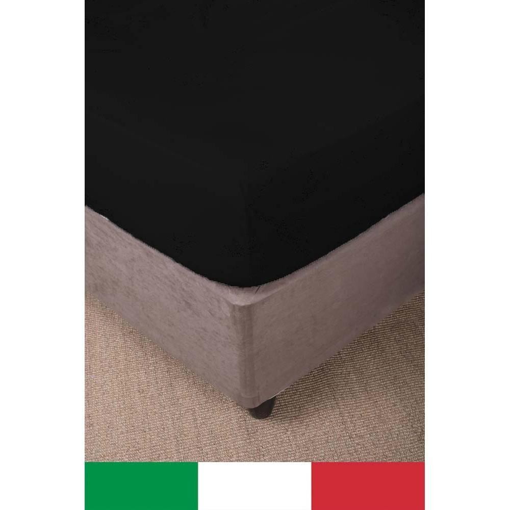 LENZUOLO con ANGOLI STRONG tinta unita NERO made in Italy