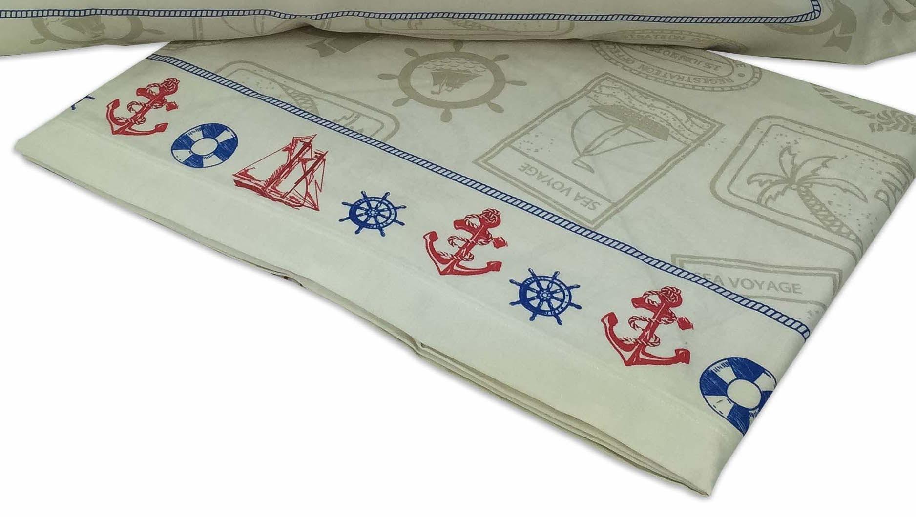 Lenzuola Matrimoniali Con Disegni Marini.Completo Lenzuola In Puro Cotone