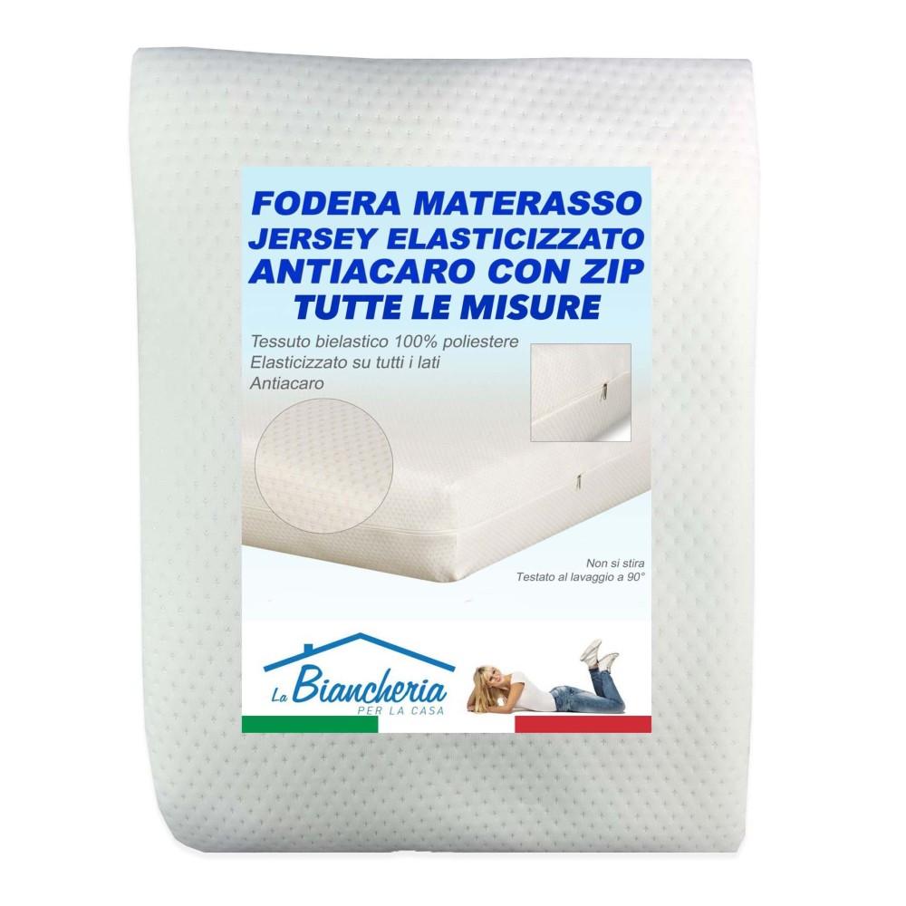 FODERA MATERASSO JERSEY ELASTICIZZATO ANTIACARO  CON CERNIERA ZIP