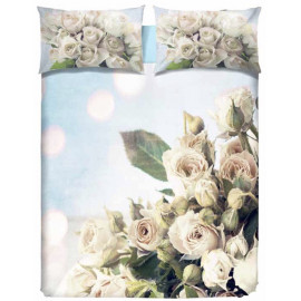 COMPLETO LENZUOLO DIGITALE ROSE BIANCHE WHITE ROSES MATRIMONIALE 2 PIAZZE