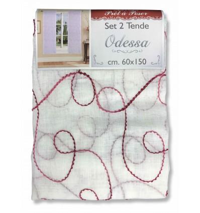 Coppia tendina regolabile vetro odessa ricamata bordeaux for Tendine a vetro confezionate