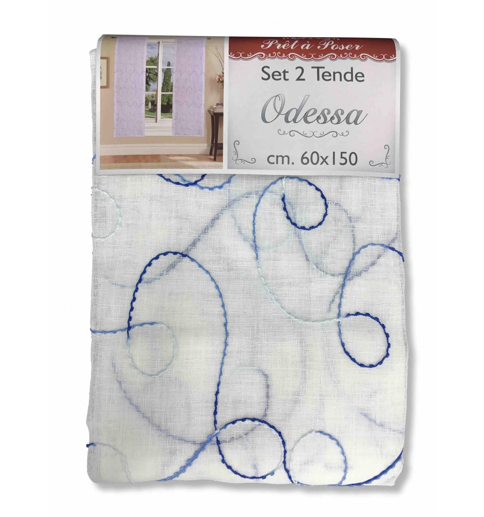 Coppia tendina regolabile vetro odessa ricamata blu la for Tendine a vetro confezionate