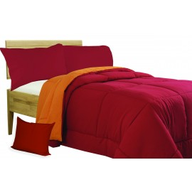 COUETTE COUETTE SOLIDE BOURGOGNE - ORANGE double face HIVER 350 GR.