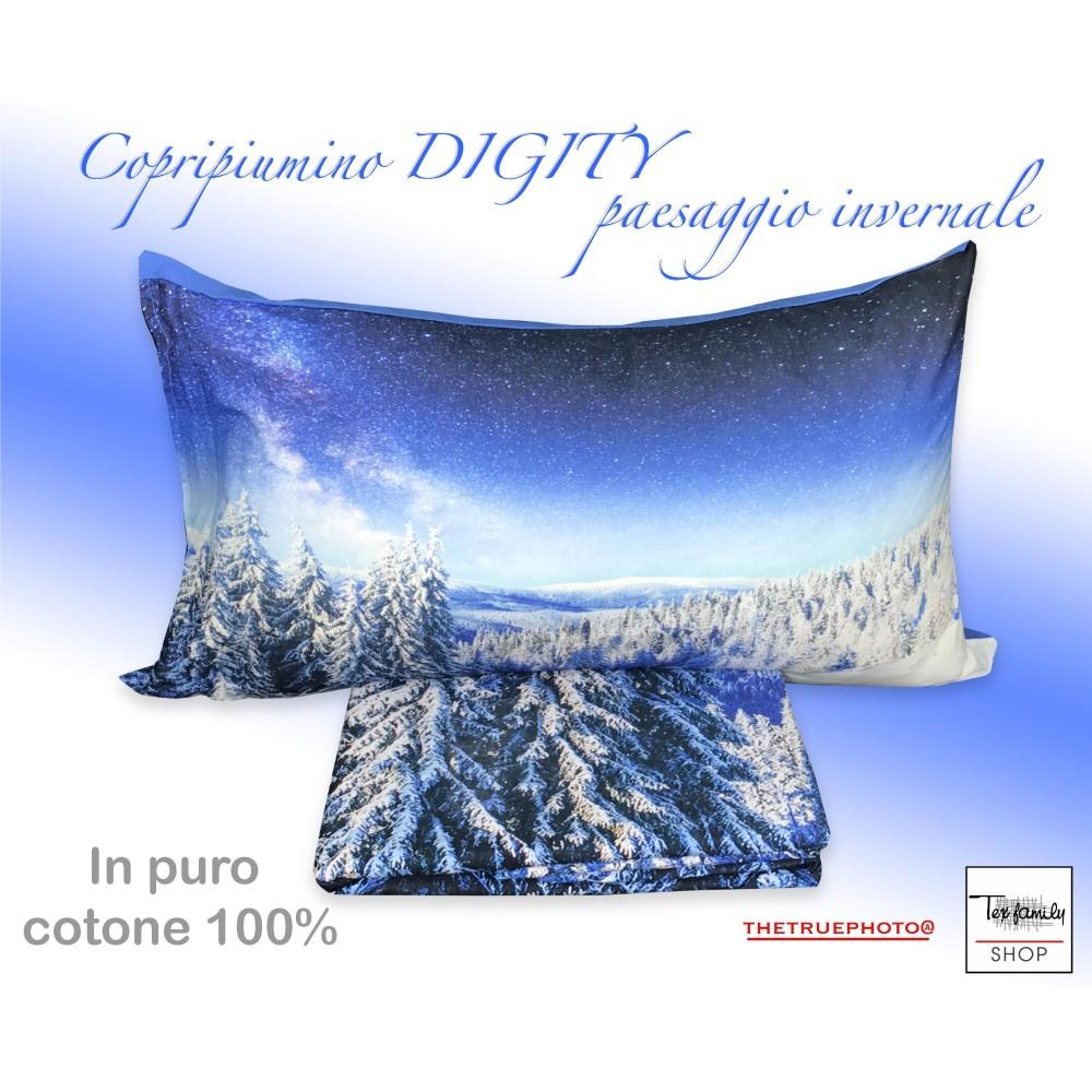 Copripiumino Paesaggio Invernale.Copripiumino Serie Digity In Cotone Paesaggio Invernale Ebay
