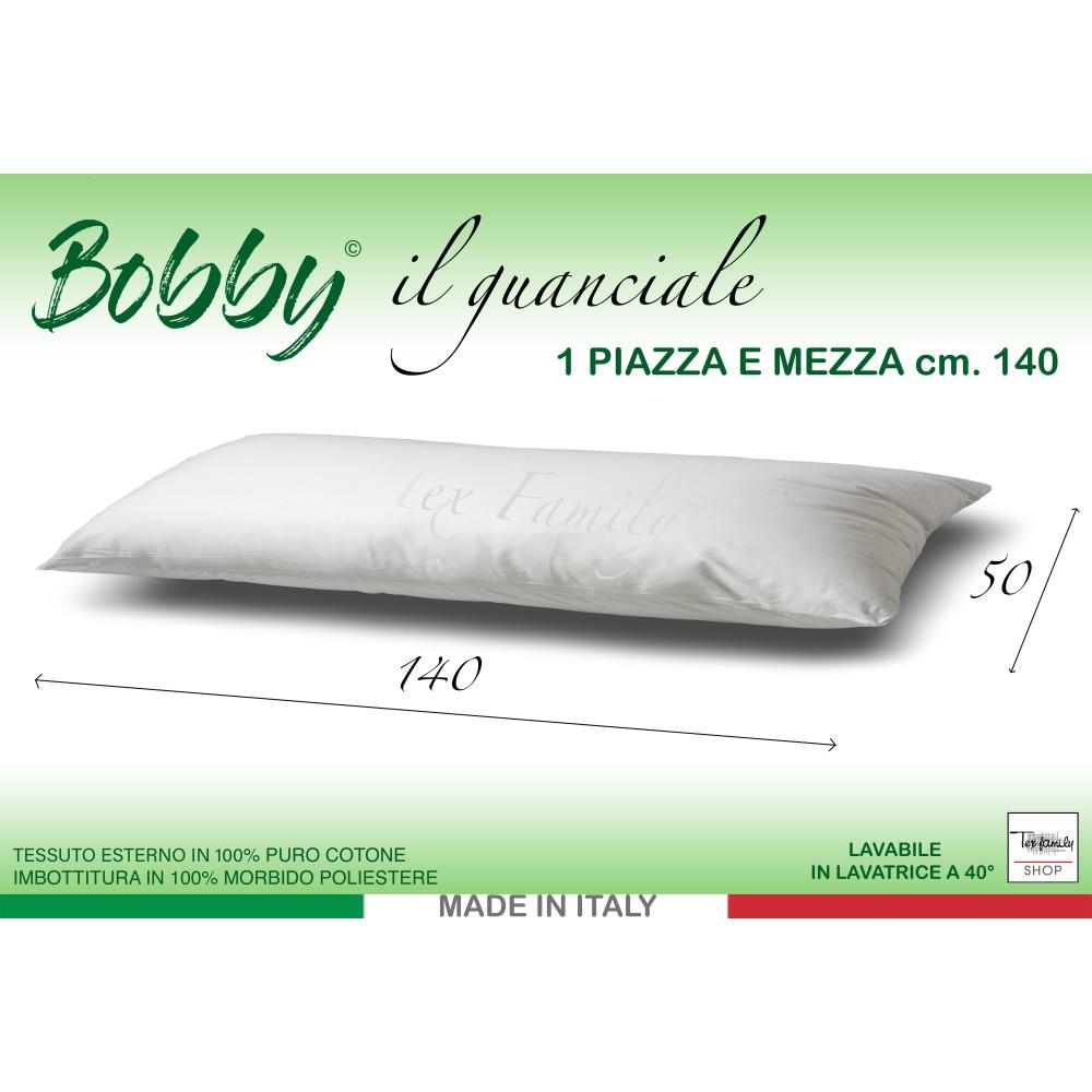 GUANCIALE BOBBY CUSCINO LETTO 1 PIAZZA E MEZZA LUNGO cm. 140 MIS. CM. 50 X 140