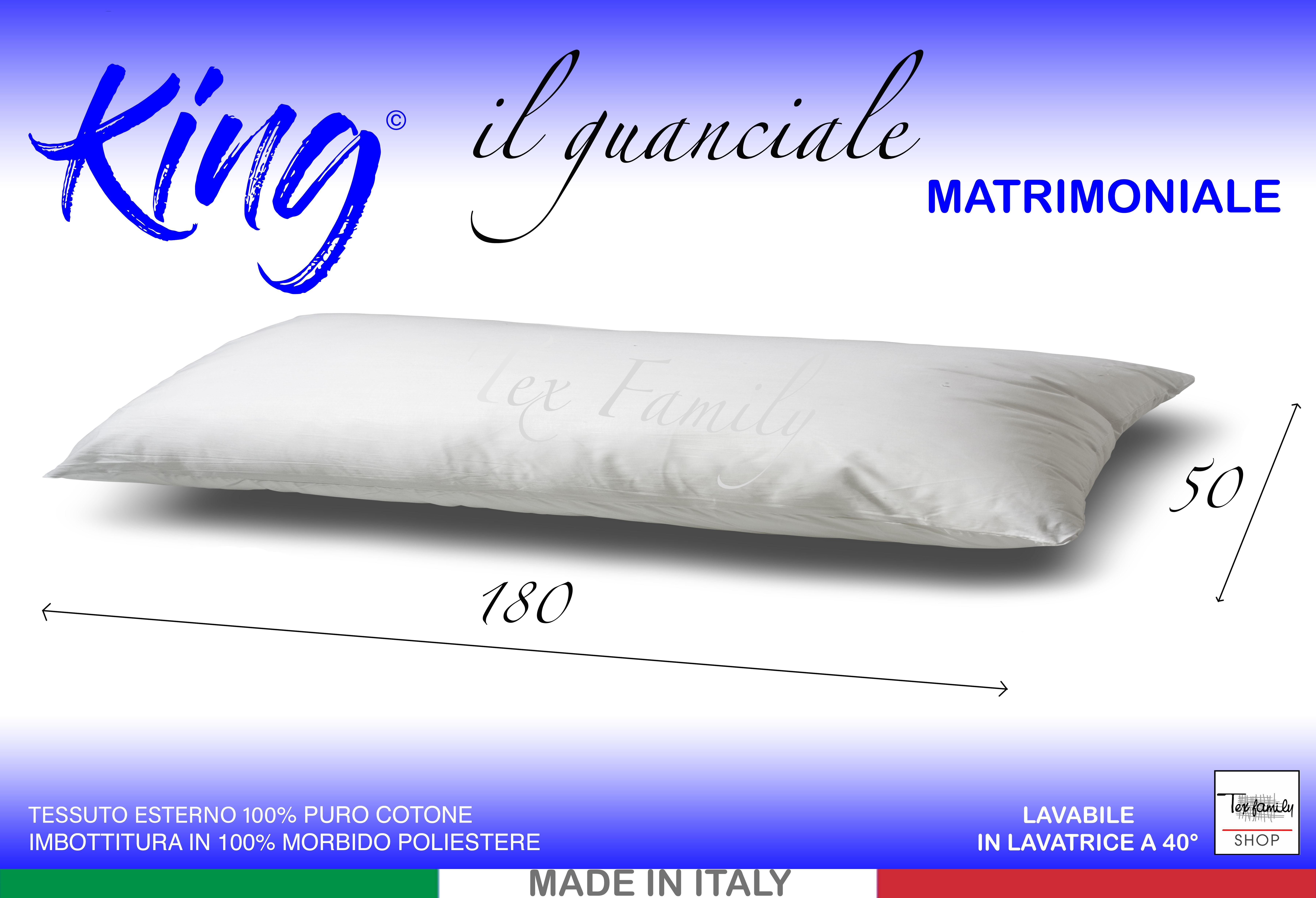 Cuscini Da Letto Misure.Guanciale King Lungo Cm 180 Ideale Per I Letti Matrimoniali