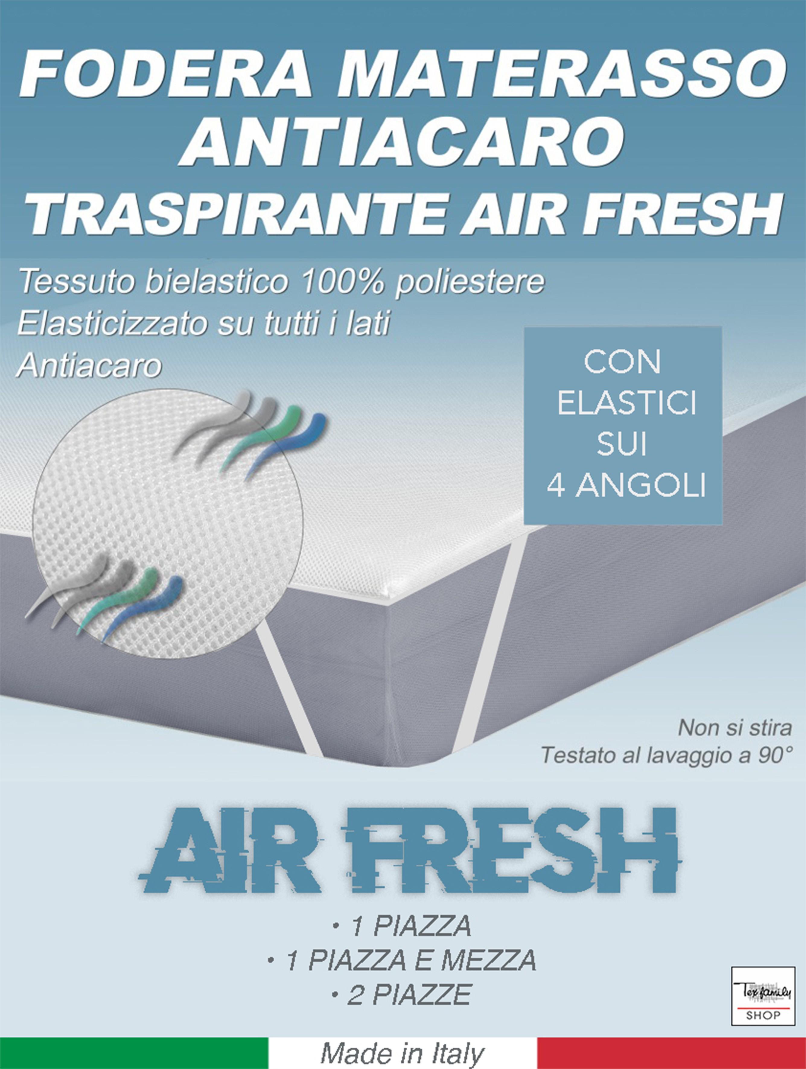 Federe E Coprimaterasso Antiacaro.Coprimaterasso Antiacaro Anallergico Traspirante Air Fresh Misura 1