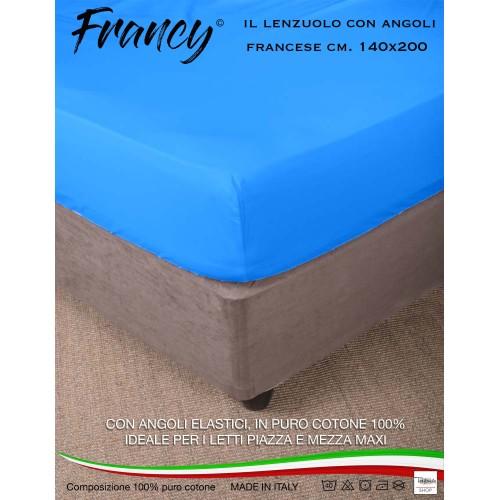 LENZUOLO FRANCY CON ANGOLI BLUETTE FRANCESE 1 PIAZZA E MEZZA GRANDE MAXI