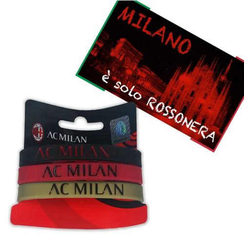 SET 3 BRACCIALETTI UFFICIALI LOGO A.C. MILAN e cartolina MILANO È