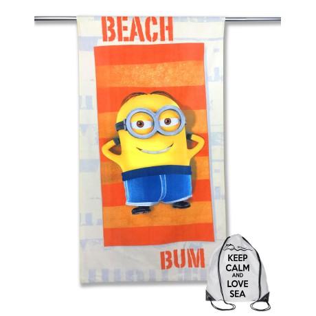 SERVIETTE de plage TERRY MINION BEACH BUM cm. 70x140, sac à dos de Plage de GARDER son CALME