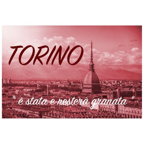 TELO MARE SPORT FORZA TORO misura grande cm. 90 X 170 e cartolina TORINO È STATA e resterà GRANATA