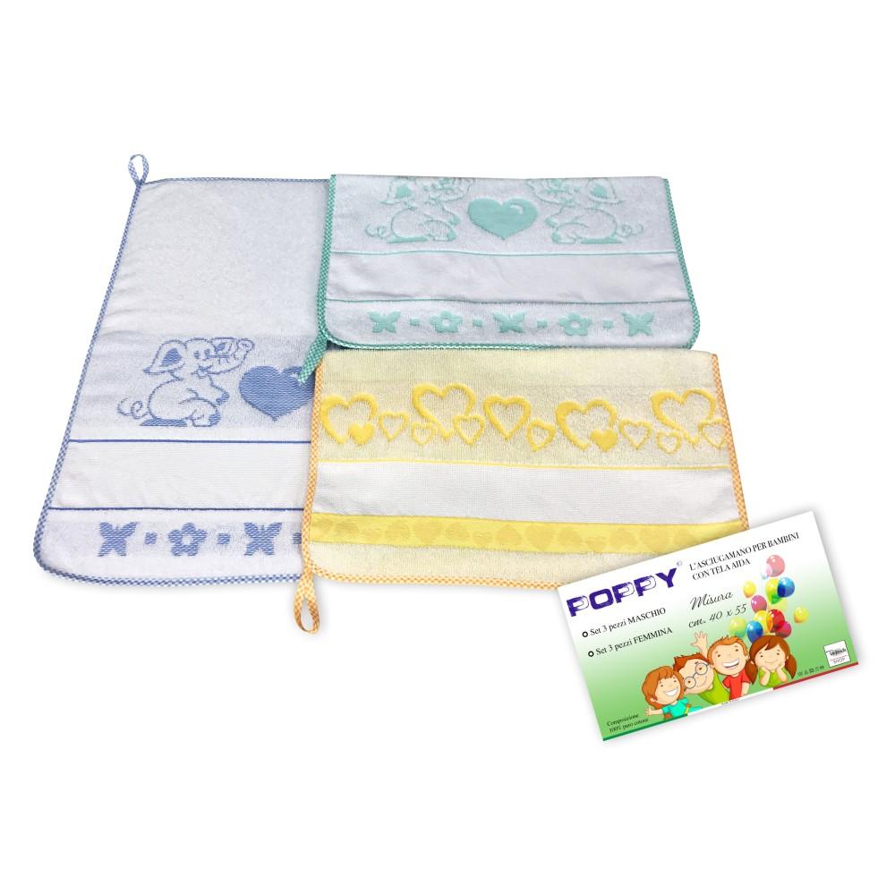 SET 3 ASCIUGAMANI ASILO bambino POPPY © cm. 40x55 puro cotone MASCHIO con tela AIDA da ricamare