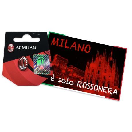 DISTINTIVO SPILLA IN METALLO  A.C. MILAN e cartolina MILANO È
