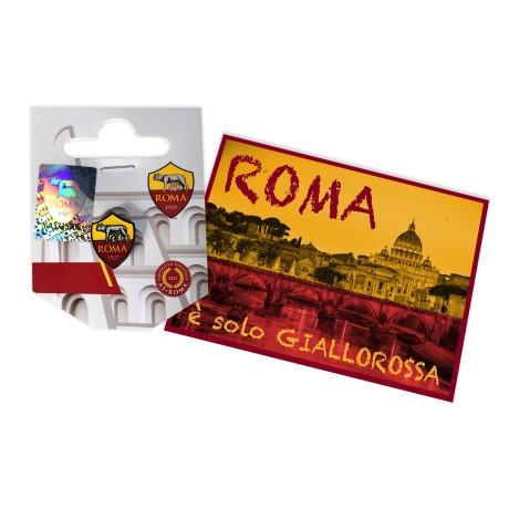 INSIGNE MÉTAL BROCHE de l'as ROMA et de la carte postale de ROME EST