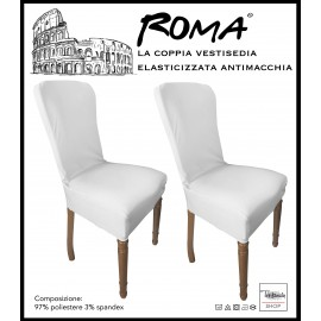 PAIRE coprisedia ROME STRETCH résistant aux taches SOLIDE BLANC