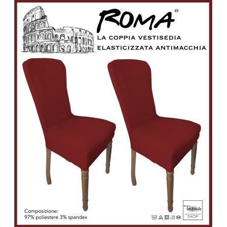 PAIRE coprisedia TRONÇON de ROME, résistant aux taches de COULEUR unie ROUGE BORDEAUX