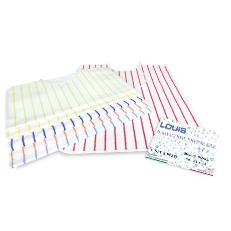 Lot de 3 bavoirs imperméables pour adulte LOUIS © avec lacets anti-taches taille SMALL complet avec sac de lavage