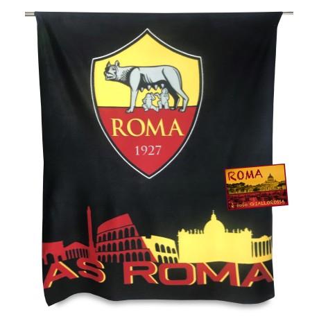 PLAID PILE ROMA CALCIO UFFICIALE ORIGINALE AS ROMA e cartolina ROMA È SOLO
