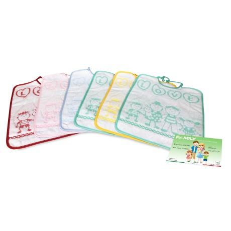 SET 6 BAVAGLINI BAVETTE bambino FAMILY © cm. 28x30 bavaglio con elastico puro cotone
