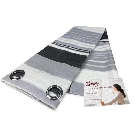Rideau STRIPY noir gris 140 x 280 cm emballé