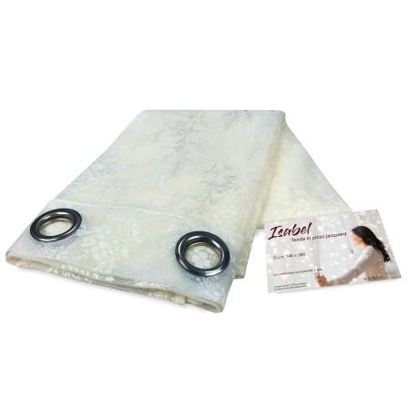 TENDA tendaggio ISABEL panna cm. 140X280 CONFEZIONATA in PIZZO jacquard